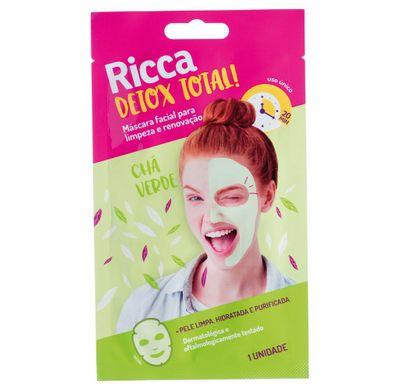 Máscara Facial Detox Total! Limpeza e Renovação Chá Verde 1uni - Ricca
