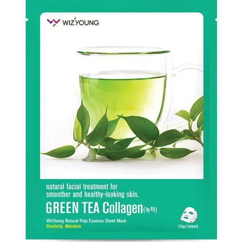 Máscara Facial Wizyoung Green Tea Collagen Essence Mask Pack