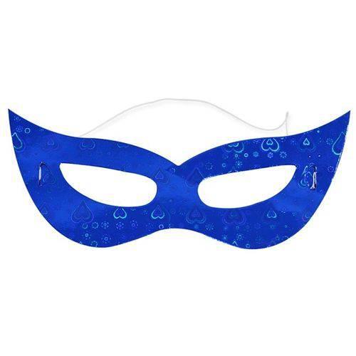 Máscara Gatinha Holográfica Azul C/ 12 Unidades