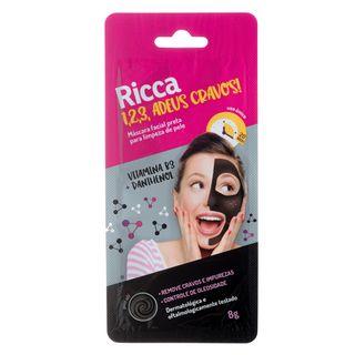 Máscara Preta Facial Ricca - 1,2,3 Adeus Cravos! 8g