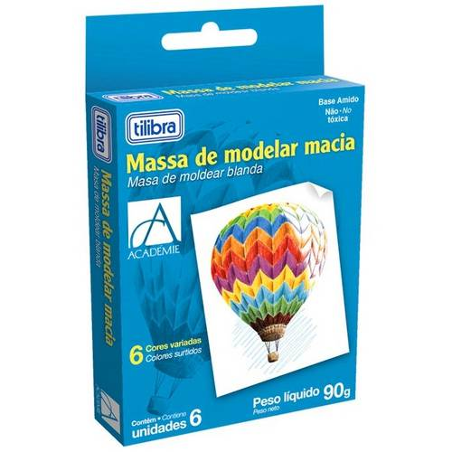Massa de Modelar Macia Académie 6 Cores - Tilibra