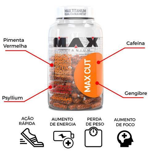 Max CUT Termogênico Cafeína+ Psyllium+ Gengibre+ Pimenta Vermelha