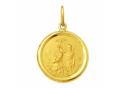 Medalha Batismo Redonda Média Ouro Amarelo