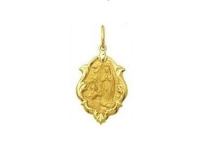 Medalha de Nossa Senhora de Lourdes Ornato 1,0cm Ouro Amarelo