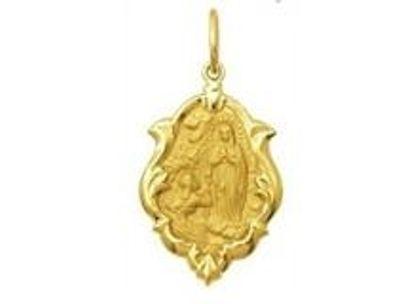 Medalha de Nossa Senhora de Lourdes Ornato 1,5cm Ouro Amarelo