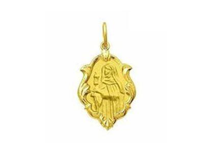 Medalha de Santa Clara Ornato 1,5cm Ouro Amarelo