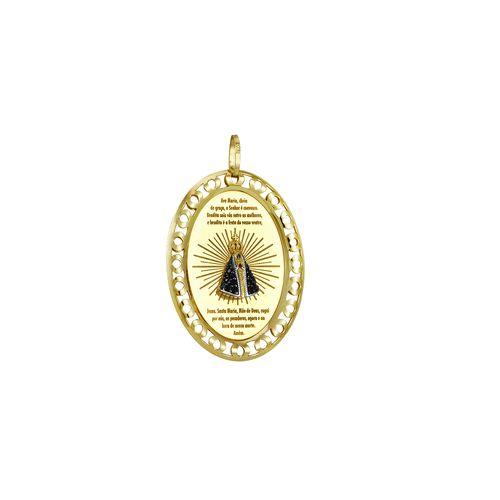 Medalha em Ouro 18K N. Sra. Aparecida com Diamantes - AU1759