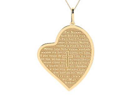 Medalha Pai Nosso Coração Ouro Amarelo