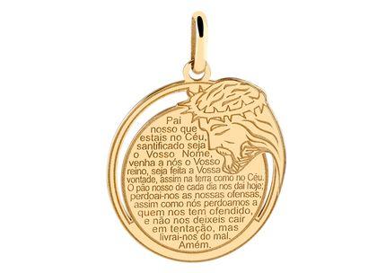 Medalha Redonda Pai Nosso e Jesus Ouro Amarelo