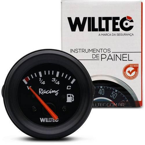 Medidor Analógico Indicador de Combustível 52mm Preto Universal 4 Níveis 12v V3 C33 Willtec