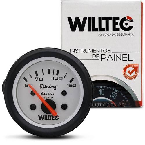 Medidor Analógico Temperatura da Água 150 Graus 12v 52mm Universal Branco e Alumínio Willtec