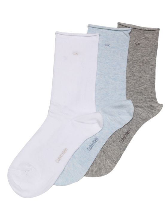 Meia Cano Médio Calvin Klein Jeans Inina Kit 3 Pares Azul, Branco -