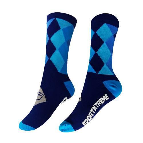 Meia Cano Médio Sportxtreme Losango Azul