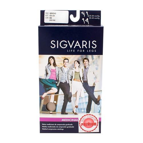 Meia Coxa (7/8) Sigvaris Select Comfort Premium 20-30 MmHg G (Tamanho Grande) Normal, Cor Natural, Ponteira Aberta