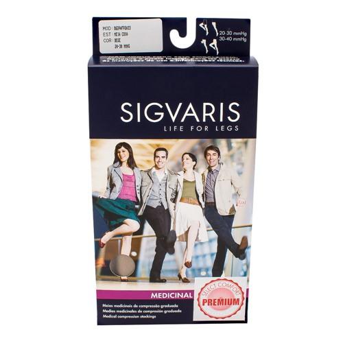 Meia Coxa (7/8) Sigvaris Select Comfort Premium 20-30 MmHg P (Tamanho Pequeno) Normal, Cor Natural, Ponteira Aberta