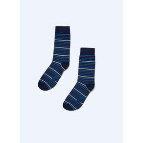 Meia Listras Azul Marinho 39-44
