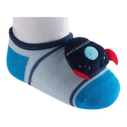 Meia Sapatilha Relevo - Foguete Azul - Pimpolho-21 ao 25