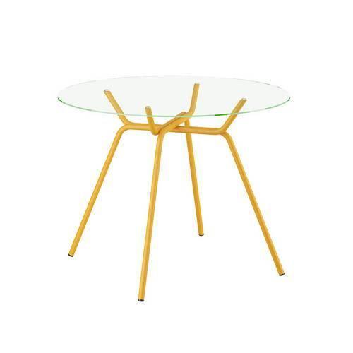 Mesa 1527 Carraro Amarelo com Vidro Incolor Lapidado