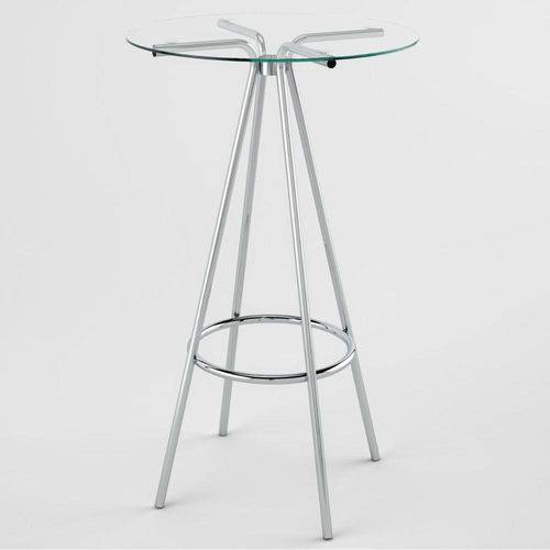 Mesa Alta de Bar PM080060 - Pozza - Cromado/Vidro