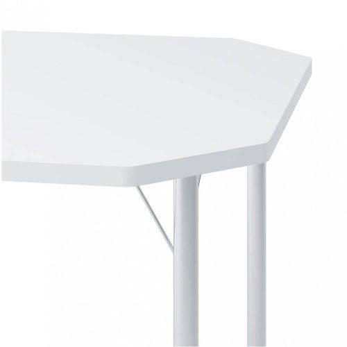 Mesa Carraro - 1510 - Cor Cromada - Madeirado Branco