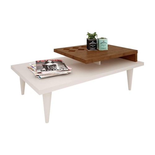 Mesa Centro Splendore Off White/Amêndoa - Magiore MK