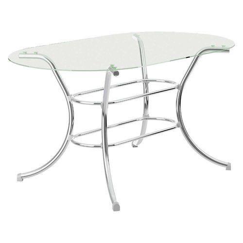 Mesa com Tampo de Vidro Oval 1524 Cromado - Carraro