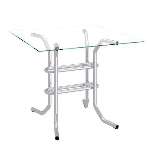Mesa com Tampo de Vidro Quadrada Flex Compoarte Cromado