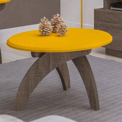 Mesa de Apoio Artely Jade Retrô Amarelo com Canela