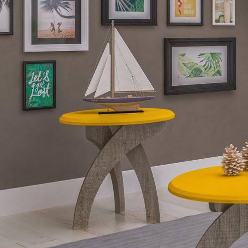 Mesa de Apoio Jade Artely Canela com Amarelo
