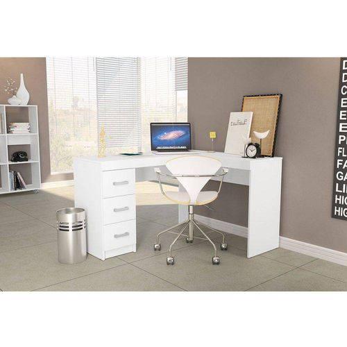 Mesa de Canto para Computador Escrivaninha com 3 Gavetas Fênix Branco