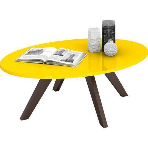 Mesa de Centro Alba - Amarelo Laca / Café - DJ Móveis