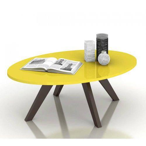 Mesa de Centro Alba Amarelo Laca Café Dj Móveis