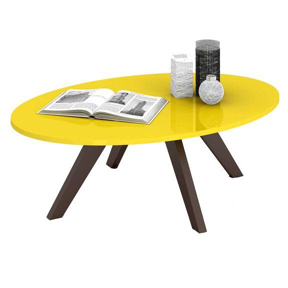 Mesa de Centro Alba - Amarelo Laca/Café
