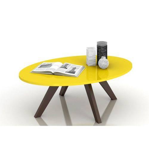 Mesa de Centro Alba Amarelo Laca com Café - Dj Móveis