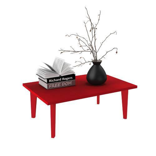 Mesa de Centro Bili Rv Móveis Vermelho