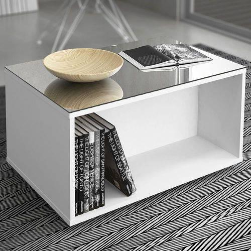 Mesa de Centro com Espelho Classic 10531 Branco Brilho - DJ Móveis