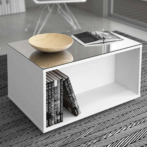 Mesa de Centro Dj Móveis com Espelho Classic - Branco