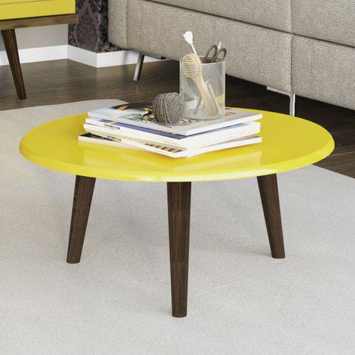 Mesa de Centro Redonda Retrô Brilhante Móveis Bechara Amarelo