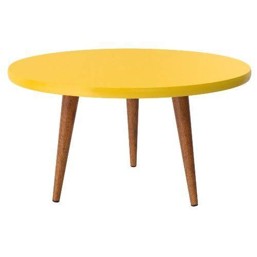 Mesa de Centro Retrô Patrimar Legs 68x68cm Amarelo