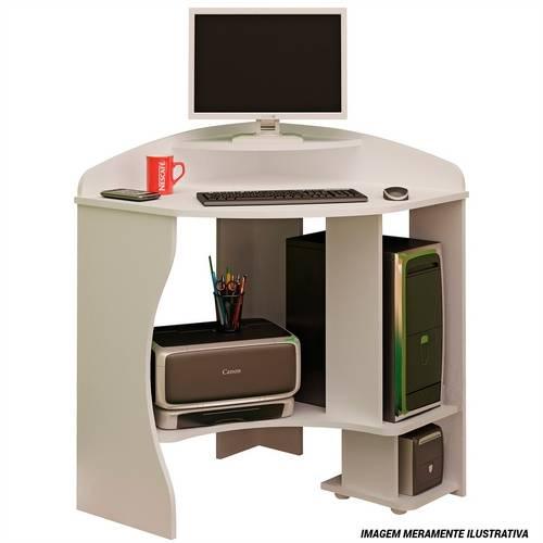 Mesa de Computador Flex 1 Gaveta Branco e Preto 00