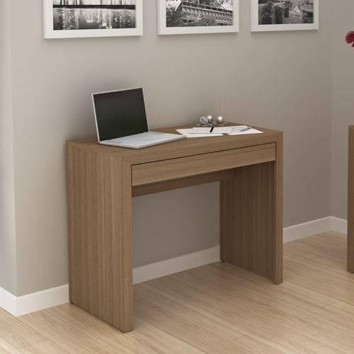 Mesa de Escritório com 1 Gaveta Tecno Mobili - Amêndoa