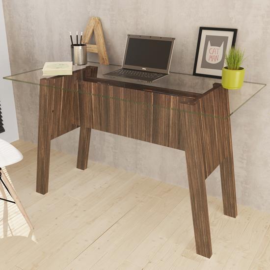 Mesa de Escritório com Tampo de Vidro ME4134 - Tecno Mobili | Elare