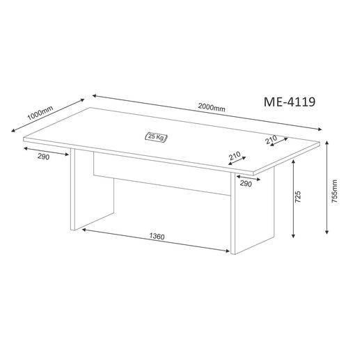 Mesa de Escritório para Reunião ME4119 Branco Tecno Mobili