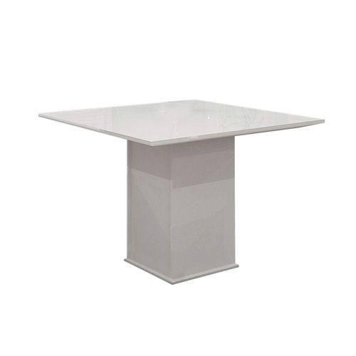 Mesa de Jantar 4 Lugares Tampo MDF/Vidro Napoli Leifer Branco/Vidro Branco