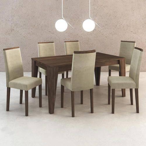 Mesa de Jantar 6 Lugares Cj1001 Suede Vanilla/Nogal - Tecno Mobili