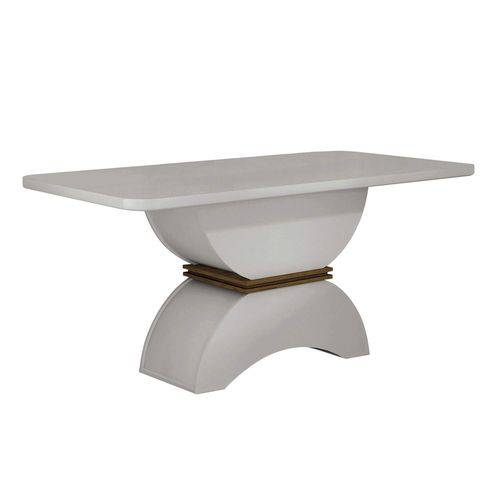 Mesa de Jantar 6 Lugares Tampo Vidro Atenas Leifer Off White/Imbuia/Off White