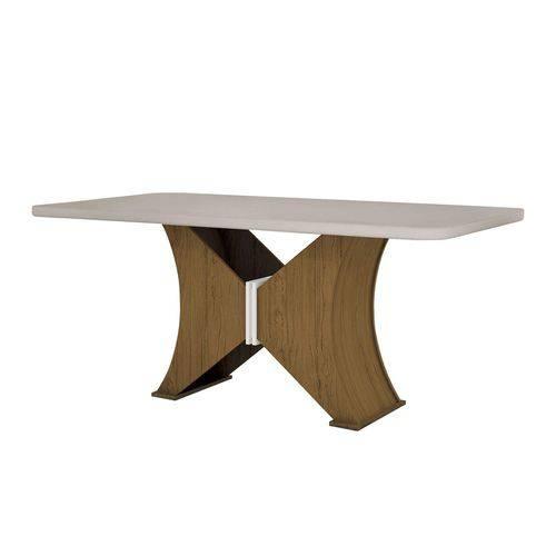 Mesa de Jantar 6 Lugares Tampo Vidro Gênova Leifer Imbuia/Off White