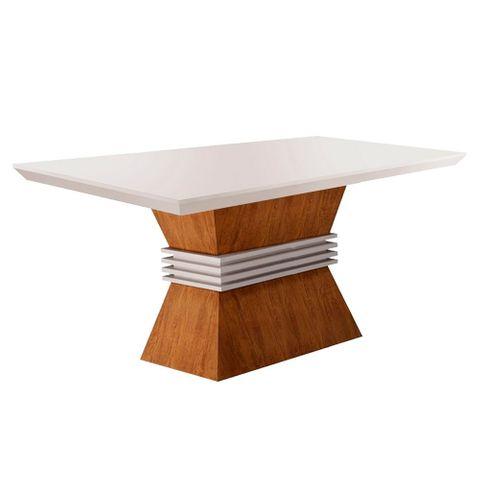 Mesa de Jantar Ágata para 4 Lugares 1,20m com Vidro Offwhite - Imbuia com Offwhite