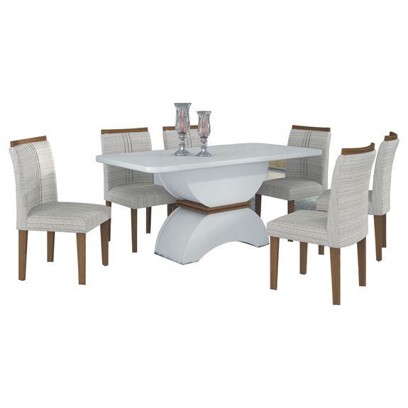 Mesa de Jantar Alemanha 6 Cadeiras - Branco - Imbuia Mel / Linho Marrom