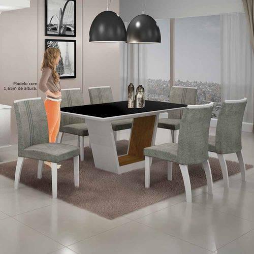 Mesa de Jantar Alemanha C/6 Cadeiras a África Rato Ii Branco/imbuia Mel/branco - Leifer Móveis